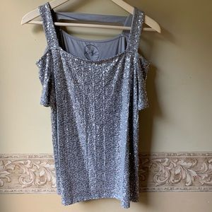 Silver sequined INC formal blouse